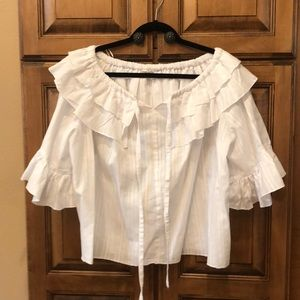 Olive Scent- M - White ruffled blouse